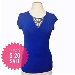 Suzy shier fitted top with beads embellishment S